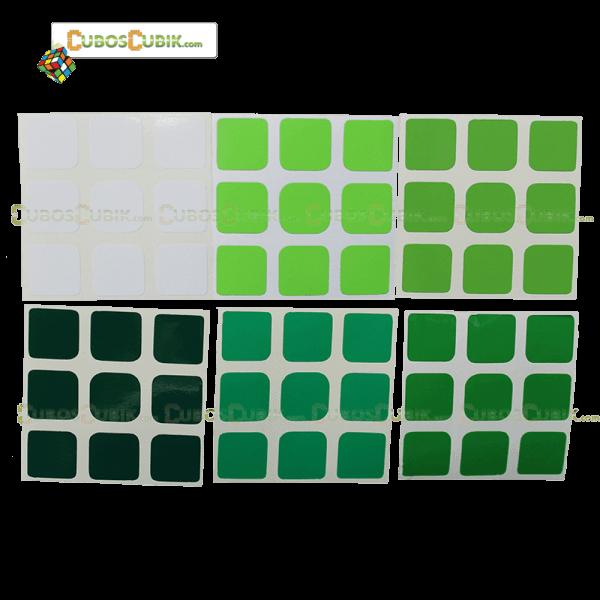 Set de Stickers 3x3  3x3 Escala de Verde