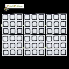 Set de Stickers Fibra de Carbono 3x3 Contorno Negro