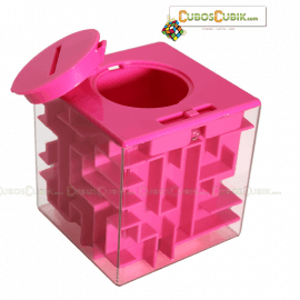 Cubos Rubik Maze Money Alcancía en Cubo Base Rosa