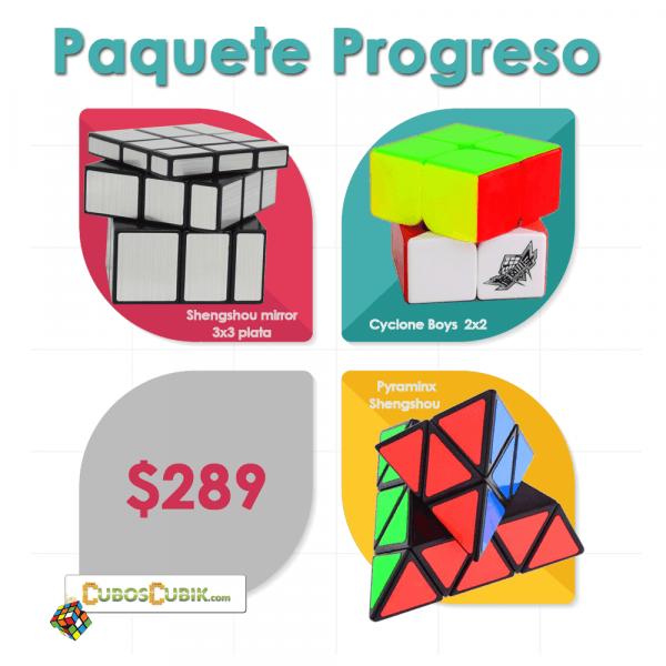 Cubos Rubik Paquete Progreso (Cyclone 2x2, Shengshou Mirror, Shengshou Pyraminx negro)