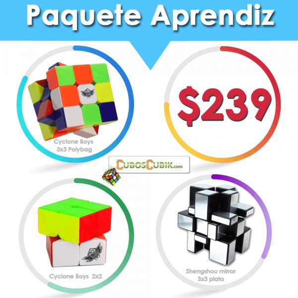 Cubos Rubik Paquete Aprendiz ( Cyclone 2x2, Cyclone 3x3, Shengshou Mirror )