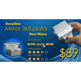Cubos Rubik Shengshou Mirror Base Blanca Plata