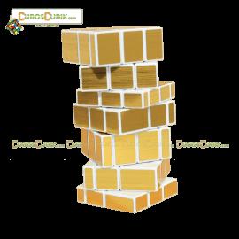 Cubos Rubik Shengshou 3x3x7 Mirror Blanco Dorado