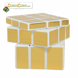 Cubos Rubik Shengshou Mirror Base Blanca Dorado