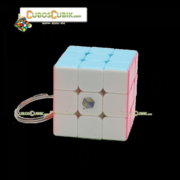 Cubos Rubik YuXin 3x3 YuQuilin Pink 3.5 cm. Llavero