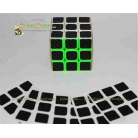 Set de Stickers Fibra de Carbono 3x3 Negro