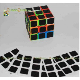 Set de Stickers Fibra de Carbono 3x3 Negro