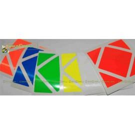 Set Stickers para Skewb Fluorescentes con Rojo